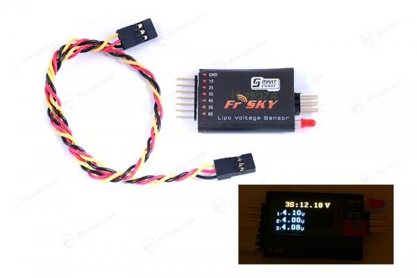 FrSky LiPo Sensor Smart Port FLVSS mit OLED Display Spannungs Anzeige Voltage