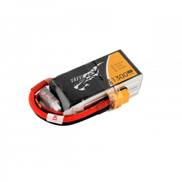 Tattu 1300mAh 14.8V 75C 4S1P Lipo Battery Pack