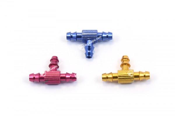 T-Stück Alu 3.5mm Schlauchverbinder für Kraftstoffschlauch Rot Blau Gold Fuel Jointer