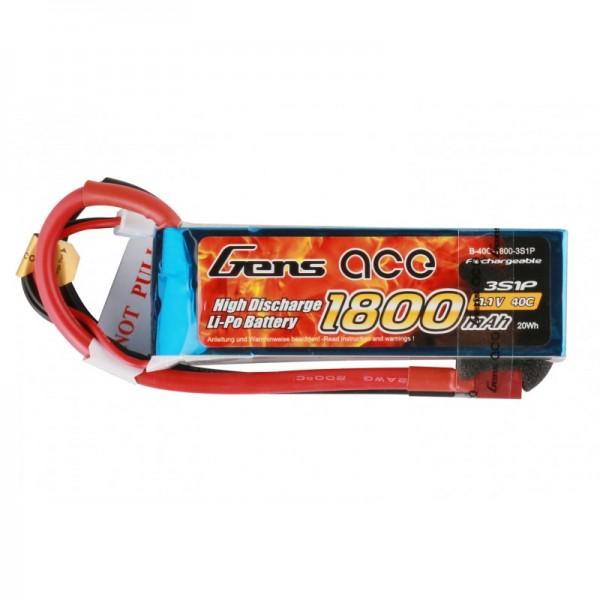 Gens ace 1800mAh 11.1V 40C 3S1P Lipo Batterie Akku