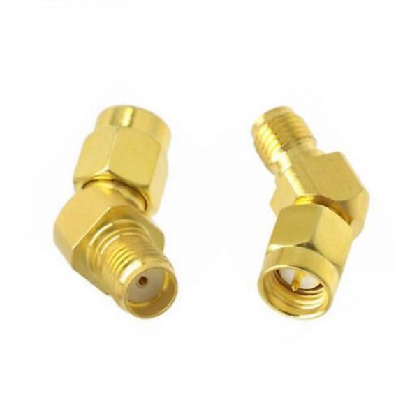 SMA Stecker / SMA Buchse 45 Grad gewinkelt - Adapter Gold für Antennen