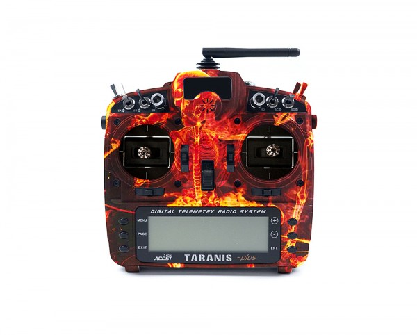 frsky taranis x9d plus se case gehause modding water transfer skull totnekopf rot fire
