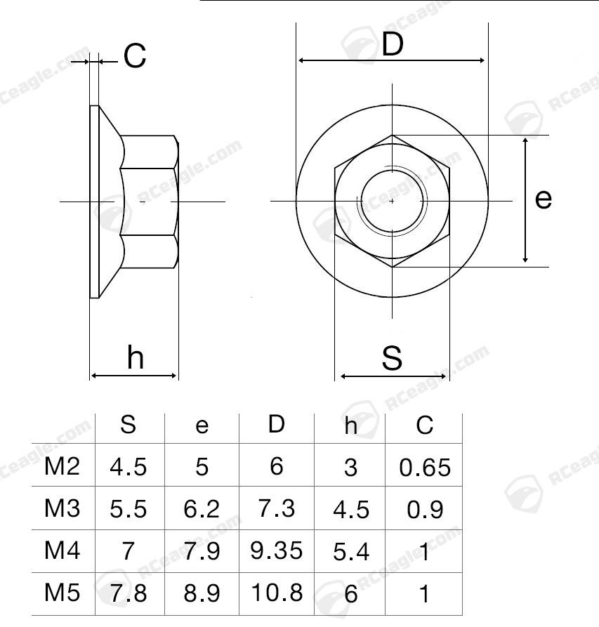 lock-nut-flange-stoppmutter-aluminium-masse-dimensions